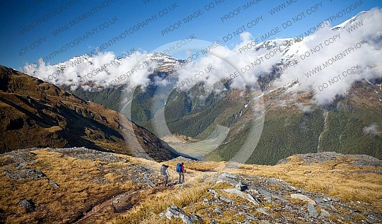 Hiking on French Ridge in the Matukituki Valley in New Zealand