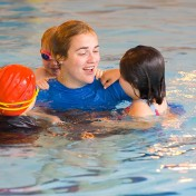 Children learning to swim with Little Fish swimming lessons