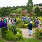 Wedding guests mingling in the garden at Gants Mill