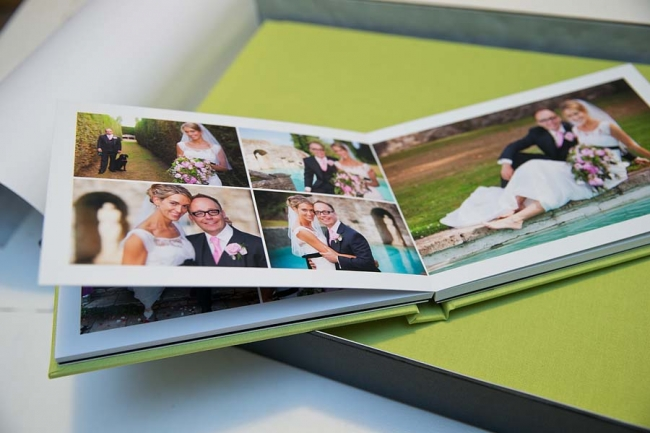 Simple, elegant wedding album in lime green