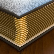 large brown leather Queensberry wedding album