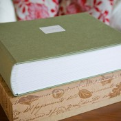 large green fabric Queensberry wedding album