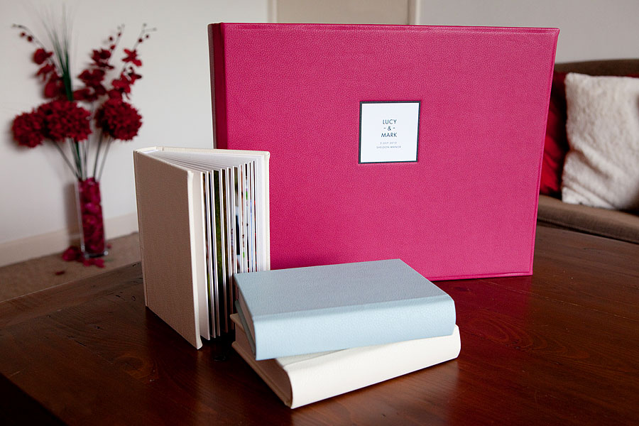 Pink leather covered large Queensberry wedding album