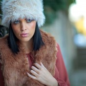 Model wearing faux fur fashion