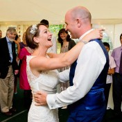 Bride and groom enjoying their first dance at gants Mill