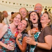 Raucous wedding guests at Gants Mill