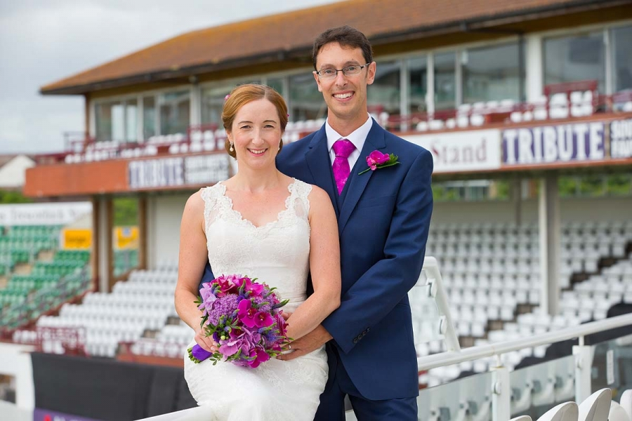 newlyweds together at Somerset County Cricket Ground