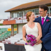 Couple embracing at Somerset County Cricket Ground