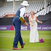 Wedded couple playing cricket at Somerset County Cricket Ground