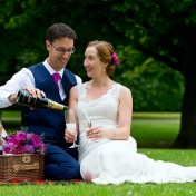 Wedded couple having a picnic