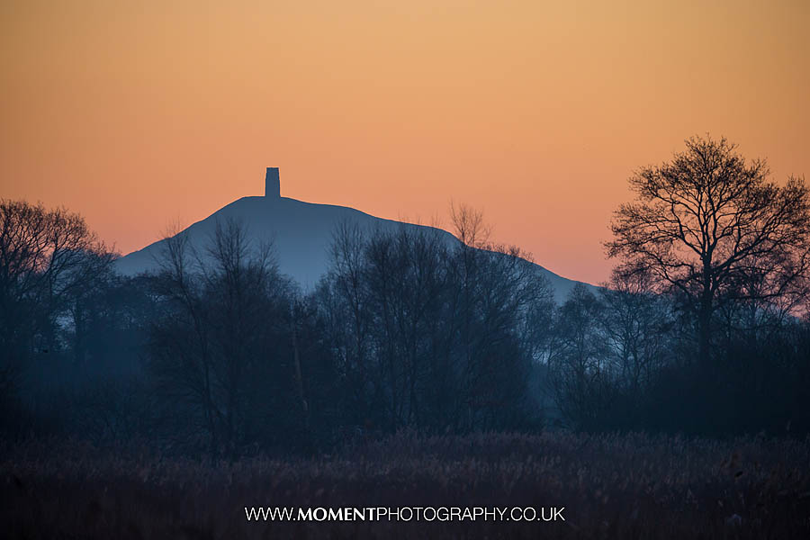 Glastonbury Tor at sunrise from Ham Wall RSPB nature reserve