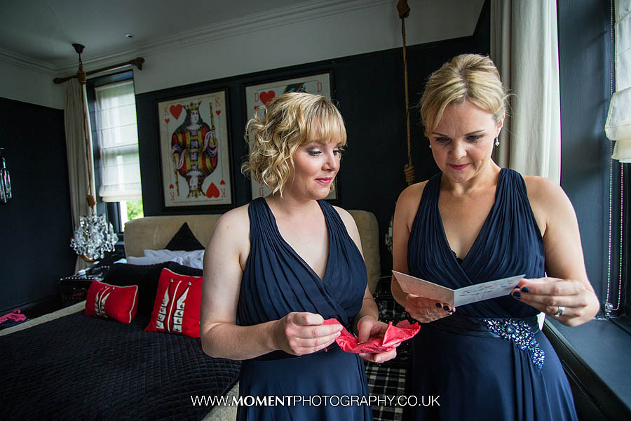 Bridesmaids in bedroom at Glazebrook House