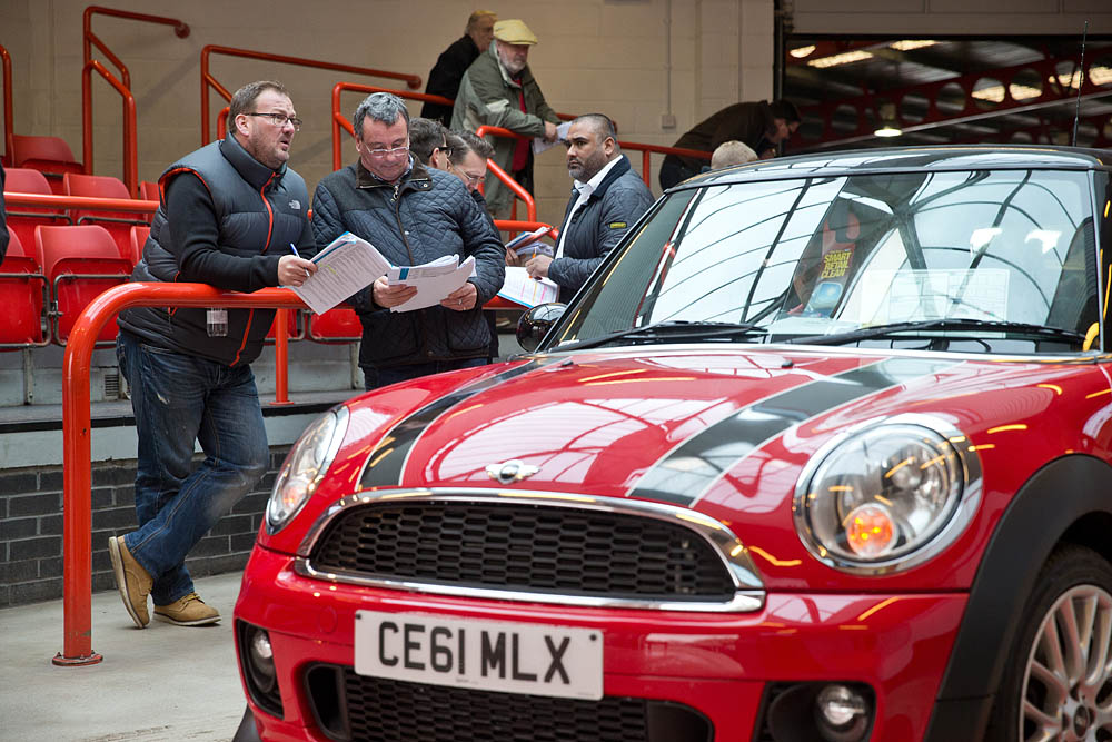 Red mini being auctioned