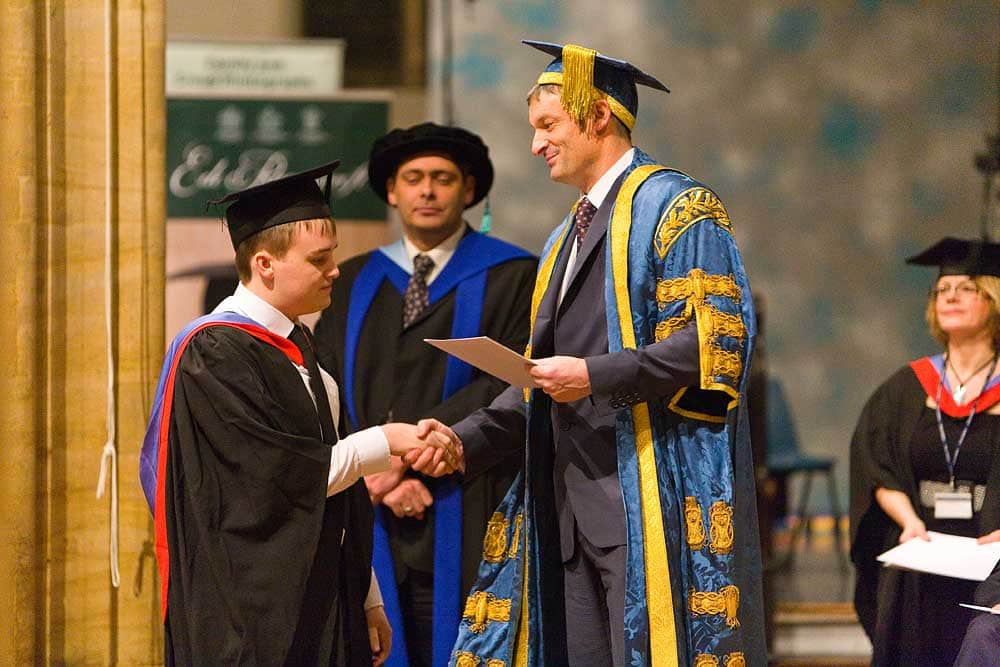 Students of Bridgwater and Taunton College receives his certificate at his graduation ceremony in Bridgwater