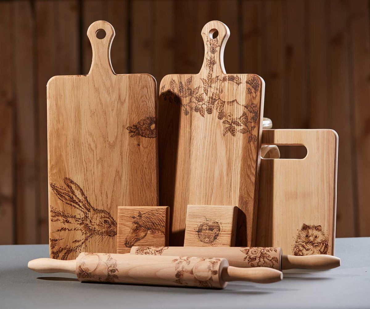 kitchen cutting board products with pyrography